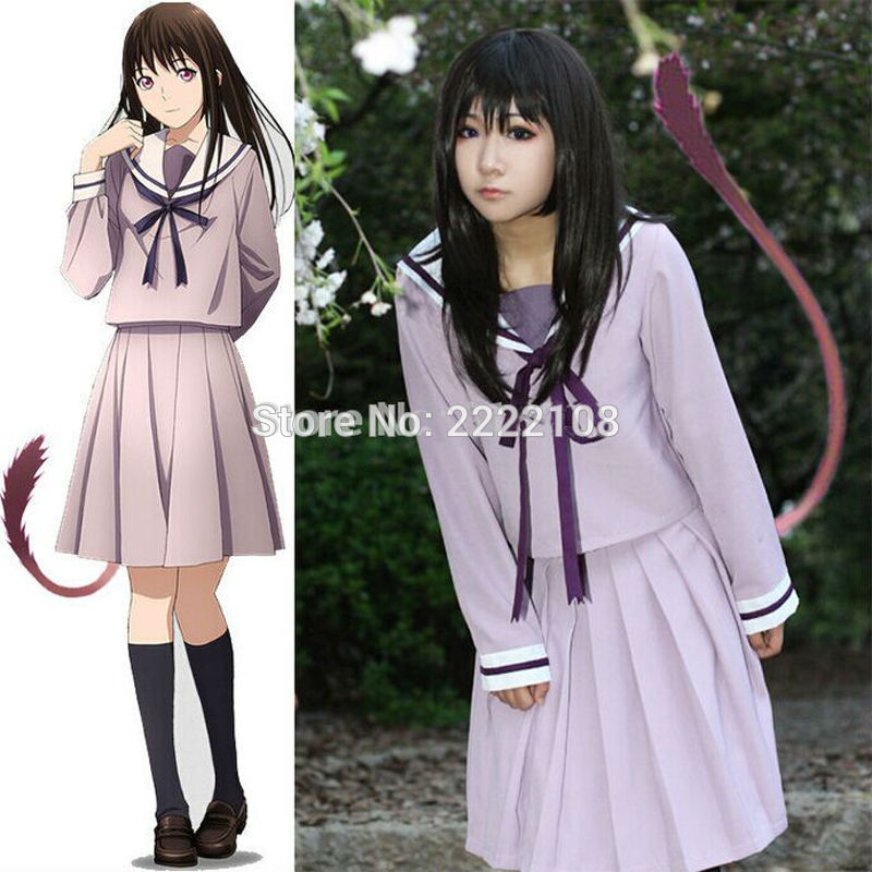 Hot Anime Noragami Yukine Iki Hiyori School Uniform Sailor Suit Outfit Cosplay Costumes Sailor Dress Cosplay Free Shipping!