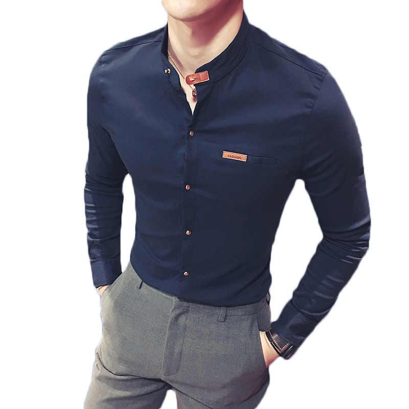 8542b8ab44fb04c 2019 Горячее предложение человек рубашки с длинным рукавом Однотонная  повседневная обувь черный, белый цвет Slim