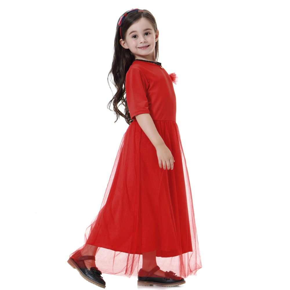 a3ded23bb56 ... Fashion Muslim Children Abaya Girl Maxi Dress Traditional Long Robe  Gowns Kimono Jubah Ramadan Middle East