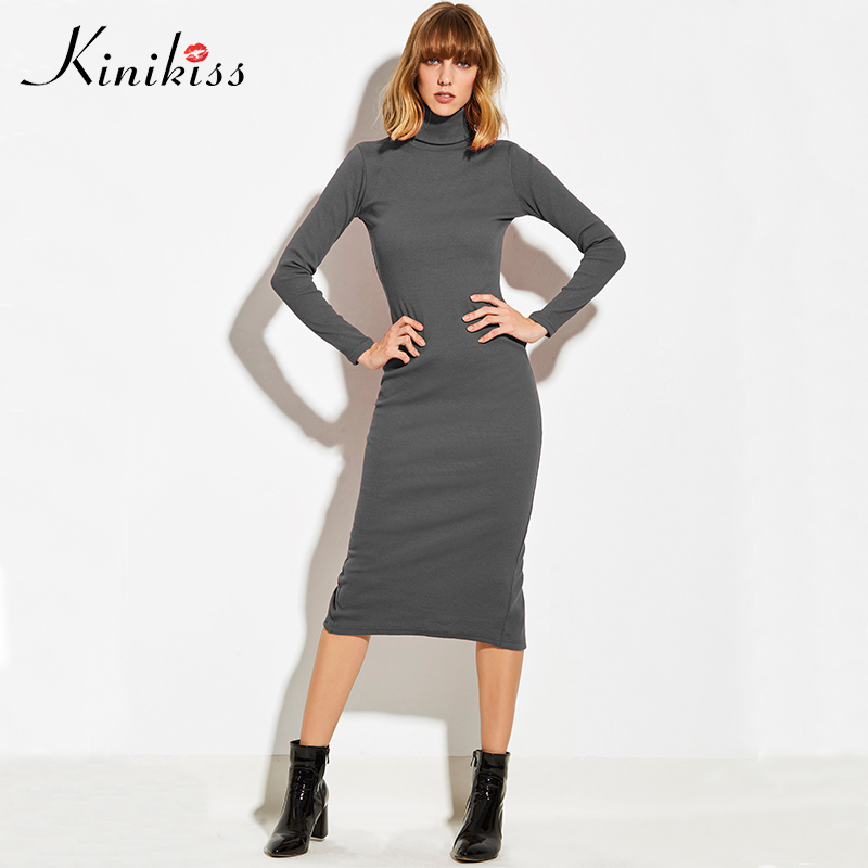 Kinikiss Women Turtleneck Sweater Dress Gray Autumn Winter Slim Bodycon Knitted Dresses Slit High Collar Basic Sweater Dress women turtleneck front pocket sweater dress