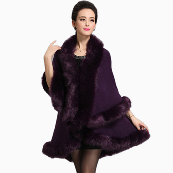 Women Faux Fur Coat Long Cardigan Sweater Cape Shawl Luxury Faux Fur Collar Knitted Sweater Autumn/winter Capes And Poncho
