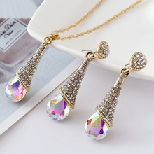 DLSHTMB Long Blue Crystal Earrings Necklace Set Nine Colour Drops Earrings Necklace Set Elegant Lady Jewelry Set E75 N302