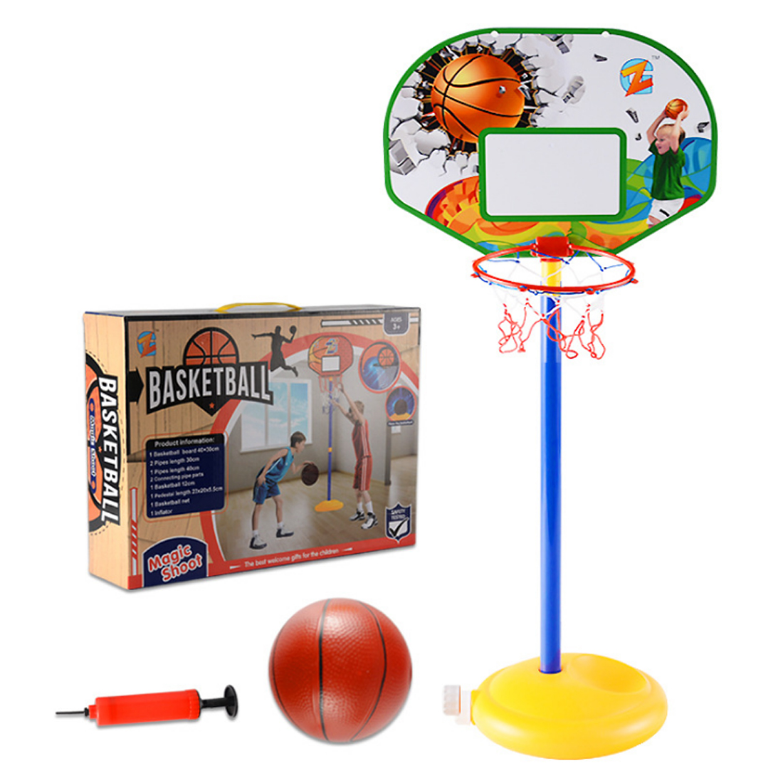 150cm Latest Children Basketball Stands Adjustable Backboard Sports Toys Set with Soccer Inflator Outdoors Fun