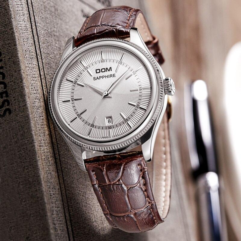 Homens relógios DOM marca de luxo à prova de água de couro de Negócios homens homens de ouro relógios M518GL7M quartzgold - 4