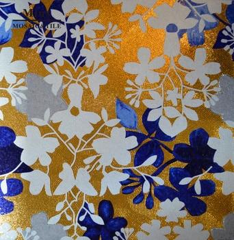 Gold glass mosaic tile pattern
