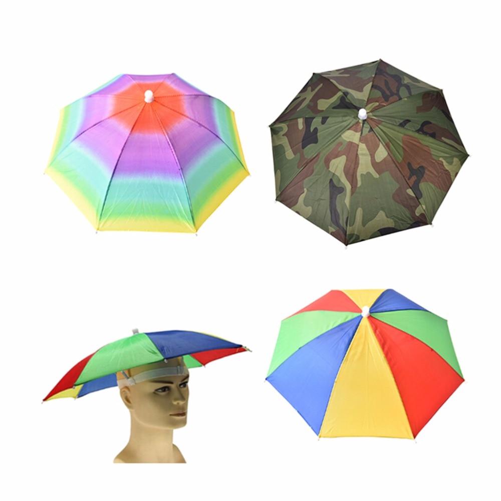 3 Type 21 inch Adjustable Headband Wearing Umbrella Hat Multicolor Outdoor Sport Fishing Foldable Nylon Umbrella Hat Cap 1PC