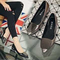 Korean version of the fall of the new pointed shallow mouth women's singles shoes low with the fashion thick heels casual wild s