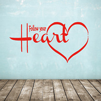 Wall Decal Follow Your Heart Love Quote Vinyl Stickers Gym Home Decor Interior Design Murals