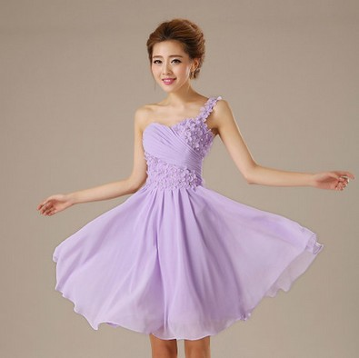 Lilac One Strap Bridesmaid Zipper Back Greek Dess Dress Knee Bridesmaids Top Dresses For Wedding Guests Free Shipping B978 In From