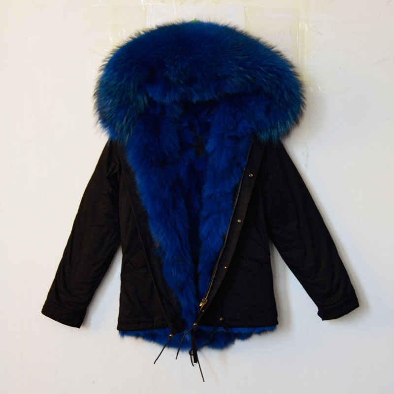 Winter Mrs furs black jacket with real fox fur lined hooded ...