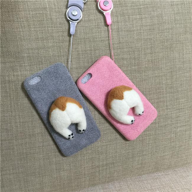 Corgi case handmake igły filcu wełnianego słodkie cat dog tyłek tyłek pokrywa dla apple iphone 6 6s plus iphone 7 7 p miękkie telefon komórkowy case 12