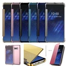 Case For Samsung Galaxy S8 S8 Плюс Смарт Флип Окно вид Гальванических Зеркало Гладкой Ультра Тонкий Жесткий Чехол Корпус телефона funda