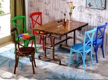 Dining chair cafe milk tea dessert shop bar restaurant master design fork back chair.