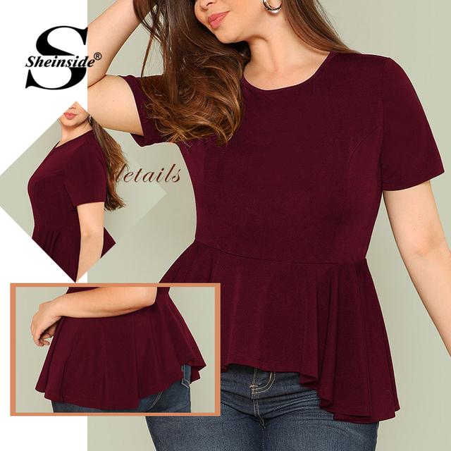Sheinside Plus Size Ruffle Hem Womens Tops And Blouses 2019 Black Burgundy Stretch Solid Top Women Short Sleeve Summer Blouse 5