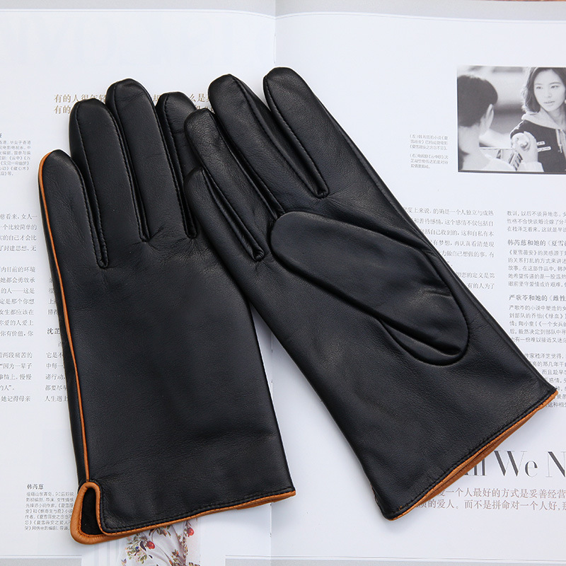 Real Leather Gloves Male Autumn Winter Thin Velvet Lined Two Tone Color Classic Black Basic Models Sheepskin Man's Gloves DQ1916