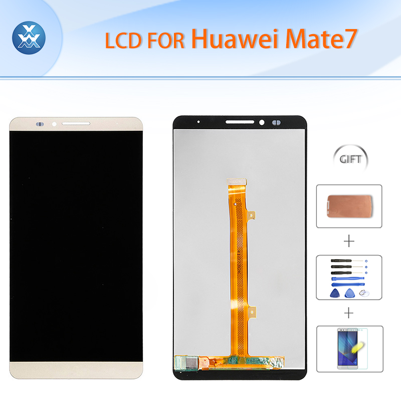 Original LCD for Huawei Mate 7 LCD display touch screen digitizer glass assembly 6 pantalla black gold white free tools+film 6 lcd display screen touch glass digitizer assembly for huawei ascend mate 8 mate8 white gold free shipping