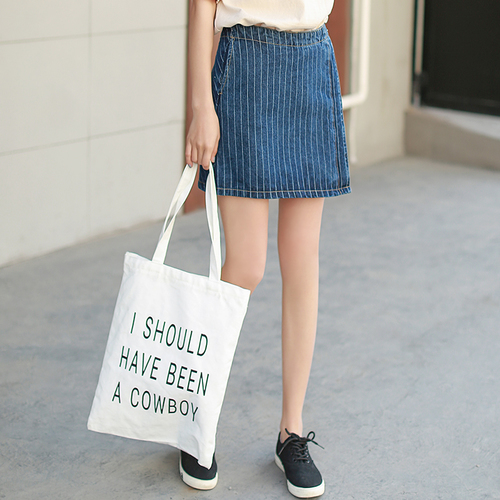 676335e457 AUFYSO Blue Denim Skirts Women 2017 Summer New England Style Retro Striped  High Waist Jeans Mini Skirt saia jeans 3110-in Skirts from Women's Clothing  on ...