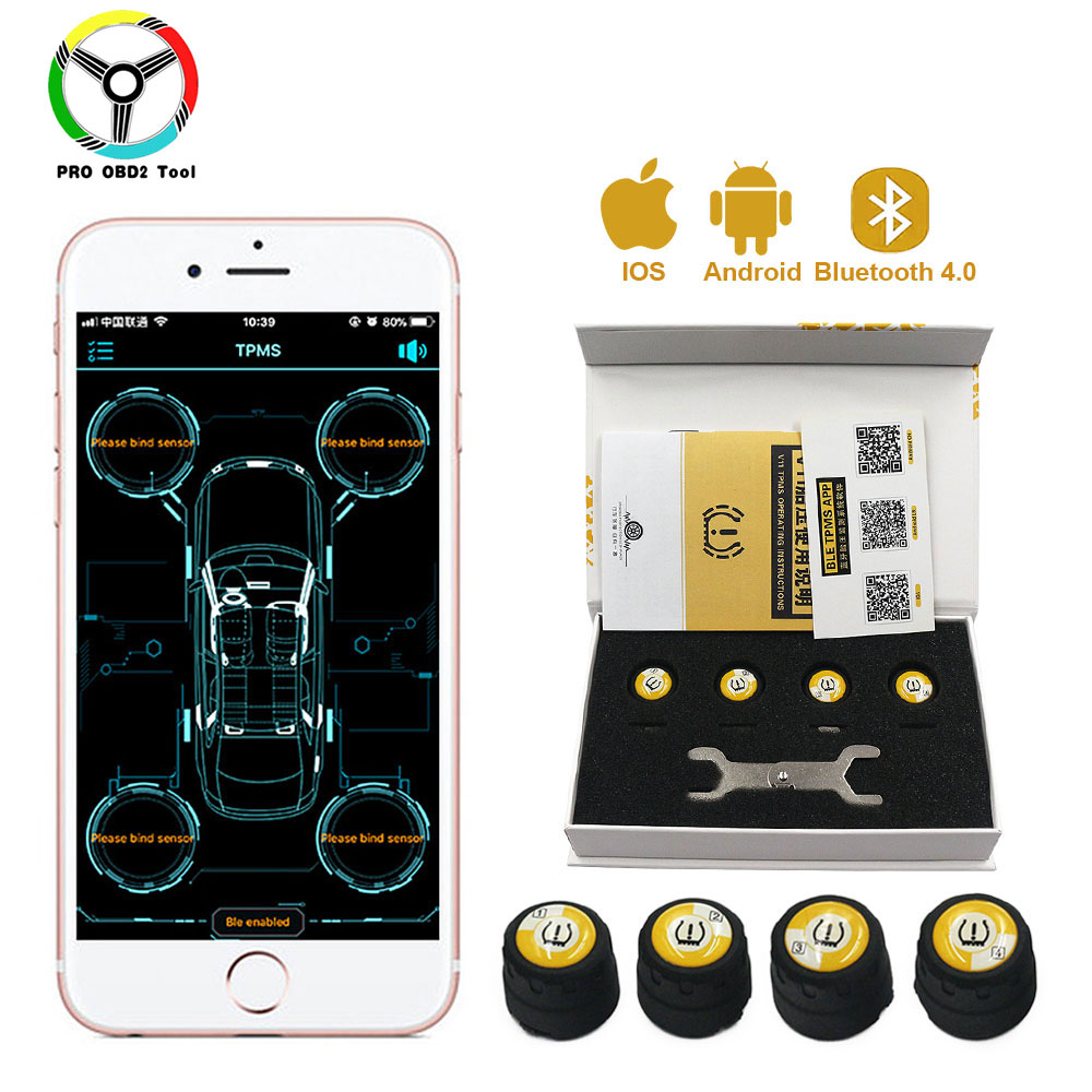 Newest 4 Pieces Outer Sensors TPMS Bluetooth 4 0 Car TPMS Tire Pressure Monitoring System BLE