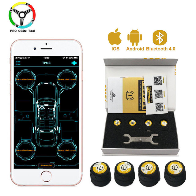 Newest 4 Pieces Outer Sensors TPMS Bluetooth 4.0 Car TPMS Tire Pressure Monitoring System BLE TPMS Low Energy For Android iOS