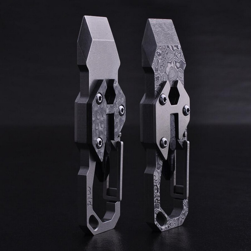 Multifunctional outdoor EDC tool, titanium keychain Damascus key hanging waist, screwdriver, letter opener hyelec ms89 2000 counts lcr meter ammeter multitester multifunction digital multimeter tester backlight capacitance inductance page 5