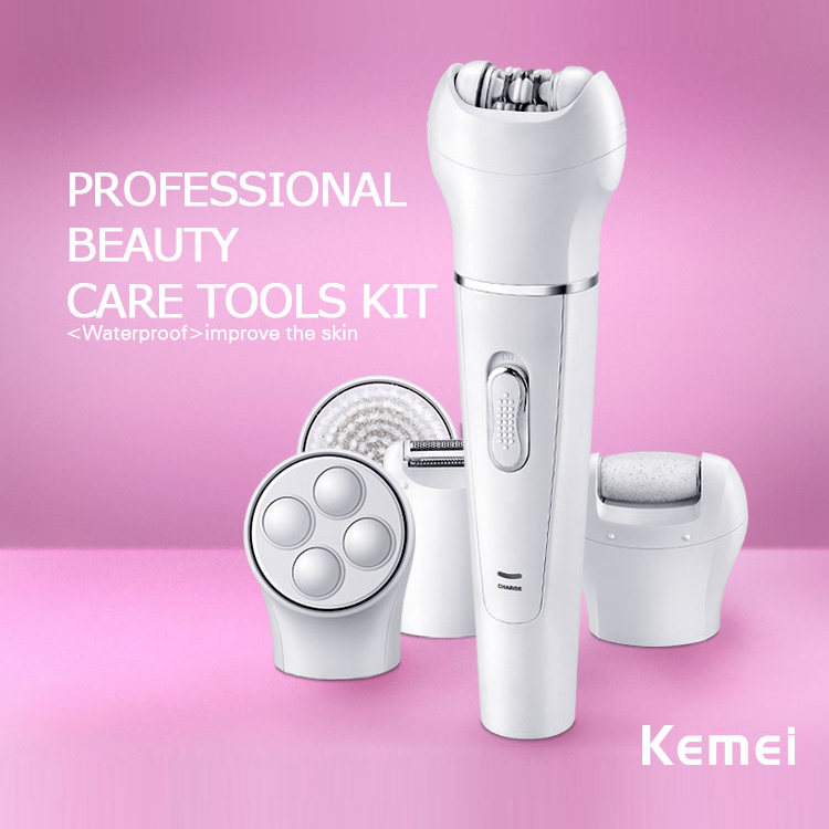 Kemei2199 5 in 1 Lady Shaver Callus Remover Facial Razor Wool Device Washable Women Epilator Shaving 110-240V 5 in 1 women shaver wool device electric shaver razor women epilator shaving lady s shaver callus remover facial cleansing brush