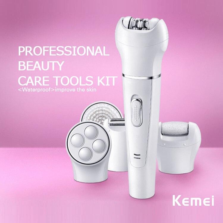 Kemei2199 5 in 1 Lady Shaver Callus Remover Facial Razor Wool Device Washable Women Epilator Shaving 110-240V km 2199 5 in 1 electric epilator facial brush callus remover