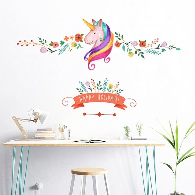 Colorato Fiore Floreale Unicorno Adesivi Da Muro Per Bambini Ragazze