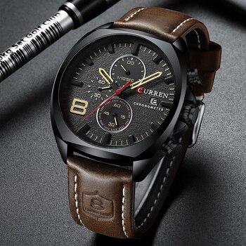 Curren 8324 Watch Sport Men Wristwatch Leather Waterproof Chronograph Quartz Men's Watches With Box