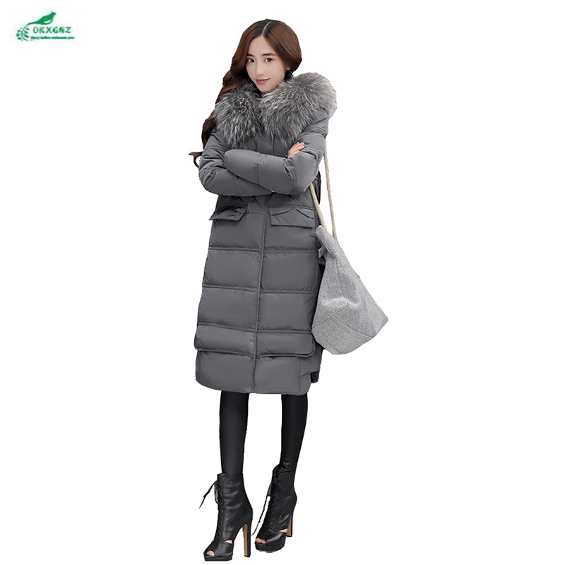 все цены на  Women thick cotton Outerwear in the long section of the Hooded collar knee high-end coat female Korean winter coat OKXGNZ QQ994  онлайн