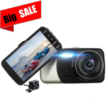 Car DVR 4 Inch Dual Lens Rearview Camera Night Vision 1080P dash cam free shipping