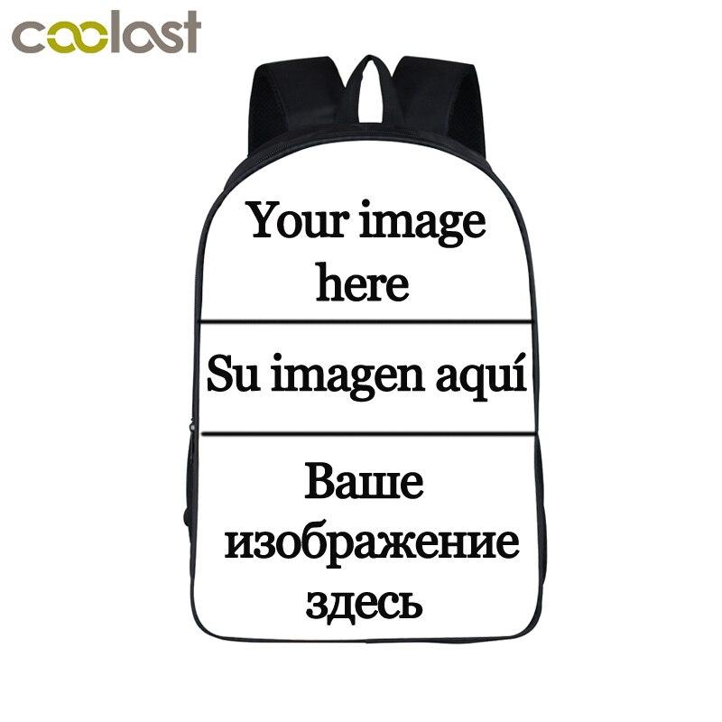 Personalizar la imagen mochila mujeres hombres viaje bolsas Anime niños escuela mochila niños niñas libro bolsa niños regalo mochilas