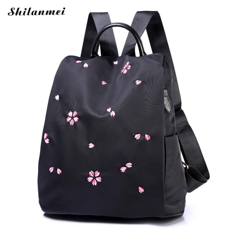 Oxford Backpack School-Bag Embroidered Large-Capacity Vintage Waterproof Women's Square-Shape