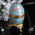 2.8'' New Year Russian Faberge Egg Jewelry Tinket Box Vintage Egg Figurine Metal Craft Gift  Christmas Birthday Gifts Decoration