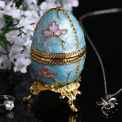 H&D Easter Day Gift 2.8'' Faberge Style Egg Shaped Trinket Box Hinged Jewelry Ring Holder Collectible Figurine Boxes w/ Crystals