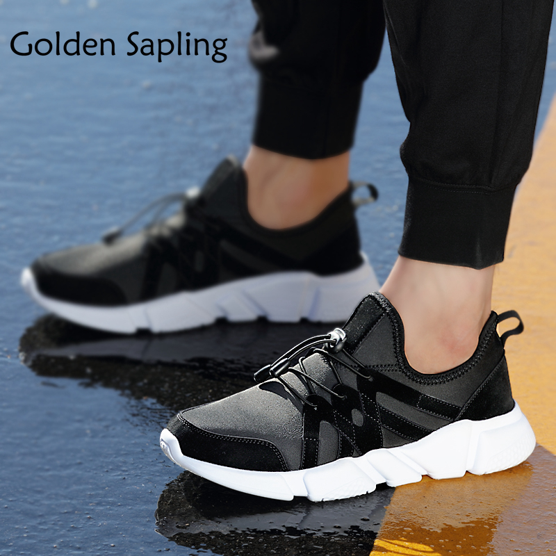 Golden Sapling Black Leather Mens Sneakers Men Running Shoes Breathable Cushion Man Sneakers Massage Trainers Men Sport Shoes