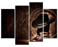 4 panel Figure Paintings Wall Art West Rodeo Cowboy Hat and Boots Picture Print On Canvas For Modern Home Decor