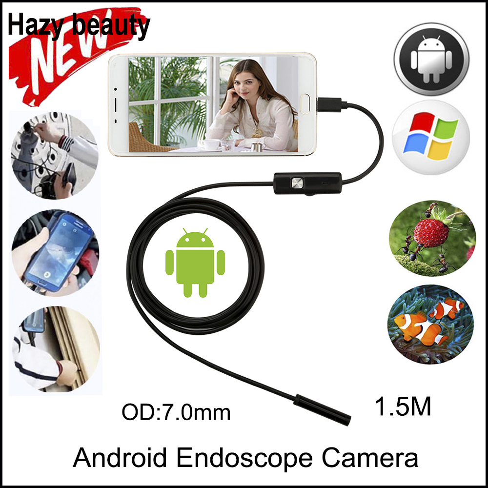 Hazy beauty  Endoscope 7mm 1.5M Android Enoscope IP67 Waterproof Inspection Borescope Snake Tube Cable USB Endoscope Camera 7mm lens mini usb android endoscope camera waterproof snake tube 2m inspection micro usb borescope android phone endoskop camera
