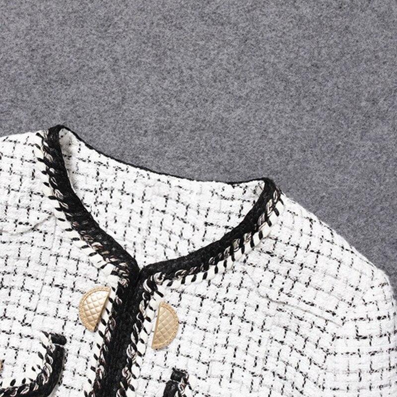 D'une Vérifier Noir De Courte Seule Manteau blanc Womentweed Pièce Veste Petit Nouveau Parfum Blanc Pour Femmes Printemps automne Femme wCqntIA