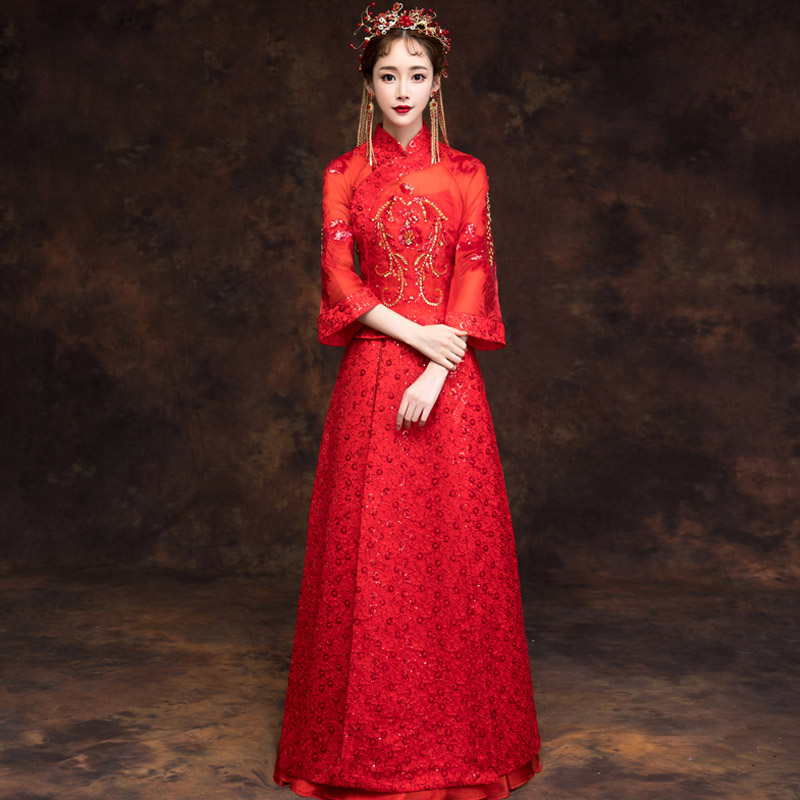 Ancient Female Cheongsam Oriental Qipao Briden Wedding Dress Vintage Embroidery Handmade Beads Sequins Tang Suit Clothing