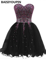 Short Prom Dresses for Teens 2019 Vestidos Coktail 2019 Corto Black Organza Beaded Homecoming Dresses