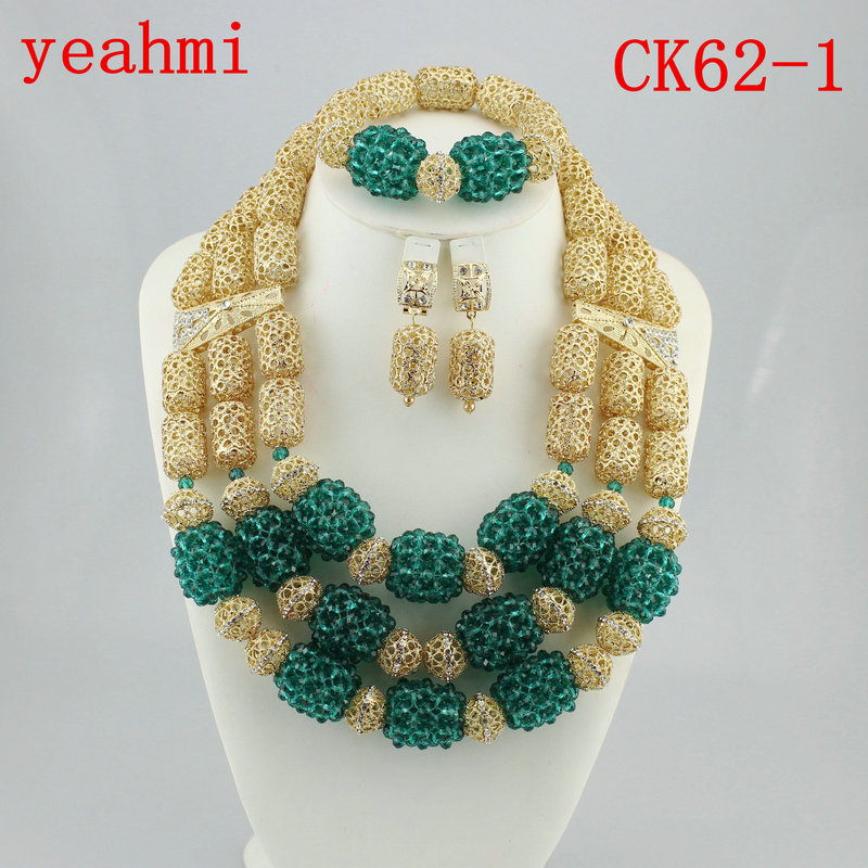 Charming Nigerian Wedding Party African Beads Set Costume African Bridal Indian Light Green Jewelry Set Free Shipping CK62-1 allure charming party magic set
