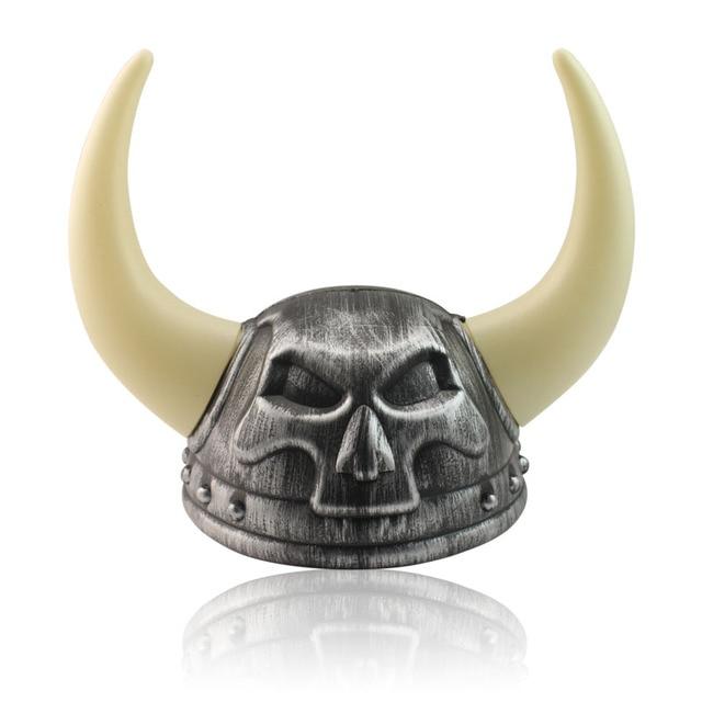 Halloween Plastic Big Horns Helmet Glod Devil Hat Party Toy Props For Children Adult