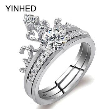 7d9de9d9df5d Yinhed 2 unids original de plata esterlina 925 anillo de boda 6mm AAA  ZIRCON corona nupcial Anillos de compromiso Sets para las mujeres regalo  zr363