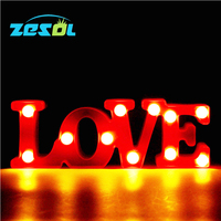ZESOL Romantic LED Night light Indoor Wall Decoration Lamps Plastic Letter LOVE Night lamps Home Christmas Wedding Decoration