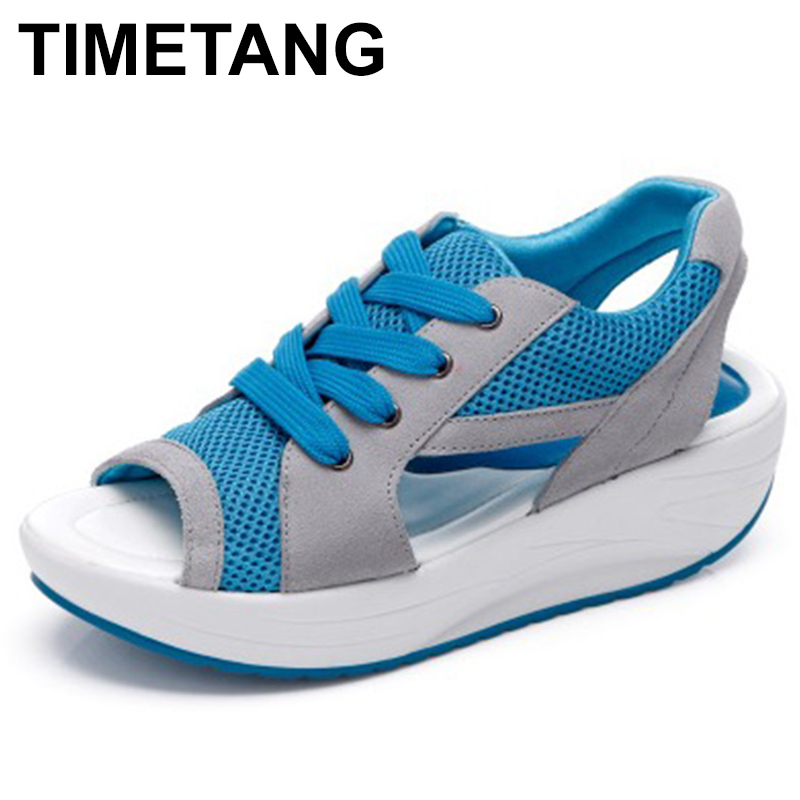 TIMETANG Women Sandals 2017 Fashion Summer Casual Sport Mesh Breathable Shoes Women Ladies Wedges Sandals Lace Platform C299 women creepers shoes 2015 summer breathable white gauze hollow platform shoes women fashion sandals x525 50