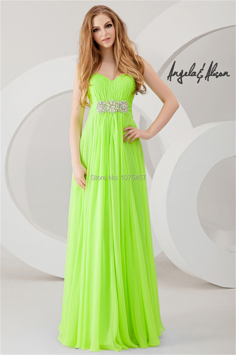 64d2691e891 Free Shipping Lime Green Prom Dresses With Crystal Beaded 2014 Sweetheart  Party Dress A Line Chiffon Long Vestido De Festa MP748-in Prom Dresses from  ...