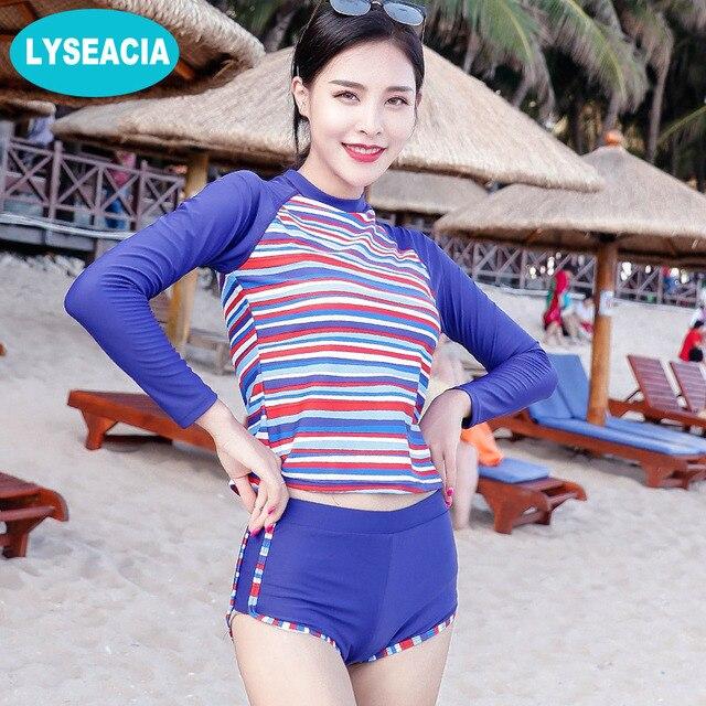 1bc1c5c0d16 LYSEACIA Long Sleeve Bikini Women Blue Swimsuit Stripes Crop Tops High  Waist Bikinis Set Two Piece Swimwear Beach Sun Protection