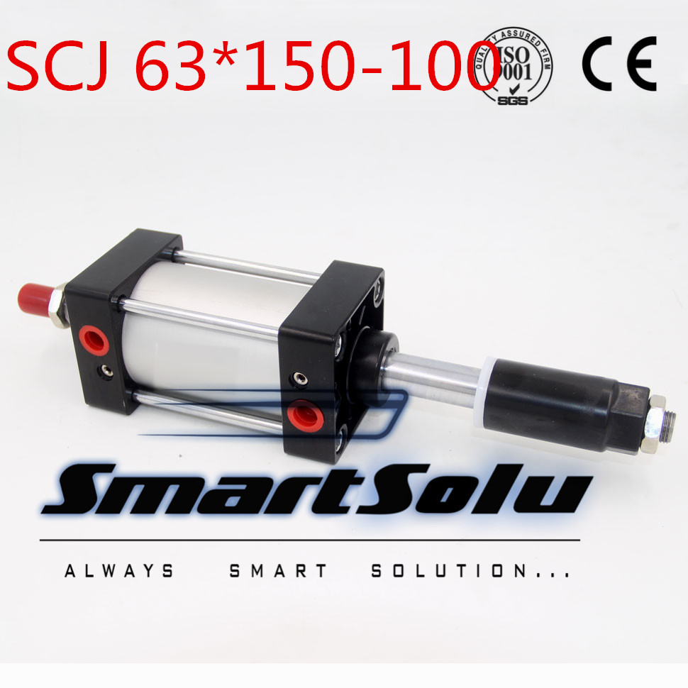 Free Shipping Airtac type Standard air cylinder single rod 63mm bore 150mm stroke SCJ63x150-100 100mm adjustable stroke cylinder mgpm63 200 smc thin three axis cylinder with rod air cylinder pneumatic air tools mgpm series mgpm 63 200 63 200 63x200 model