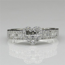 Natural Real Diamond Baguette Cut 0.399ctw Heart Shape Halo Accent Engagement Ring 14k White Gold Fine Jewelry Wedding Ring