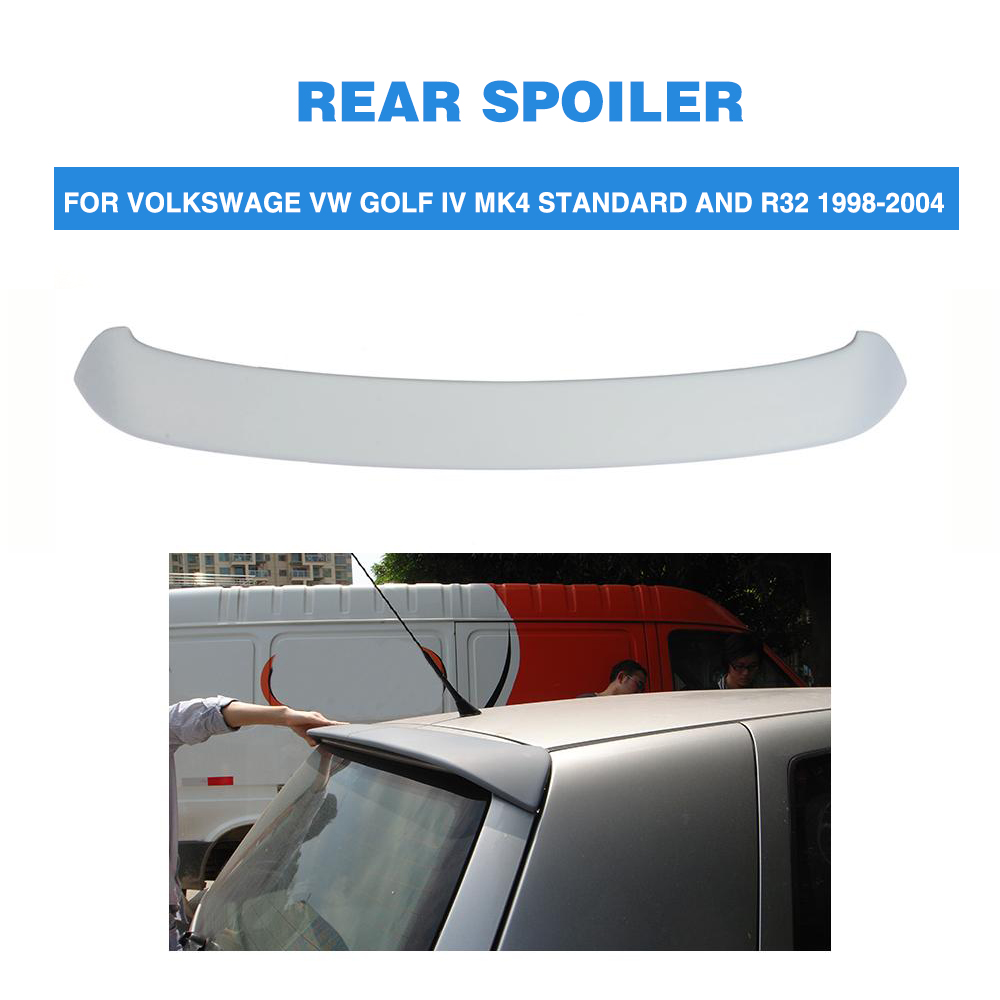 Rear Roof Spoiler Tail Wing For Volkswagen VW Golf 4 IV MK4 Standard R32 1998 2004 PU Unpainted Grey Back Windshield Spoiler